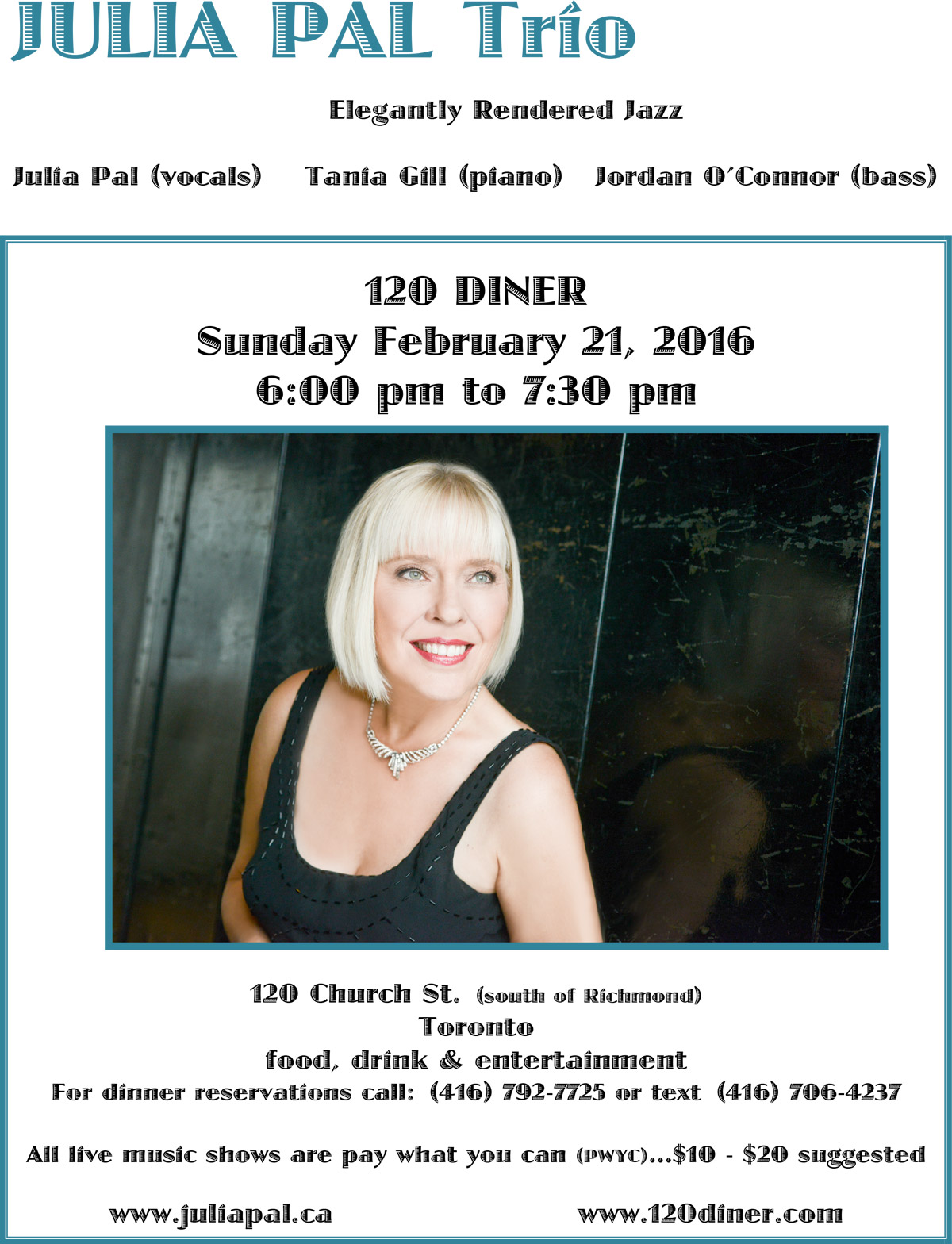 Julia Pal Trio Feb. 21, 2016